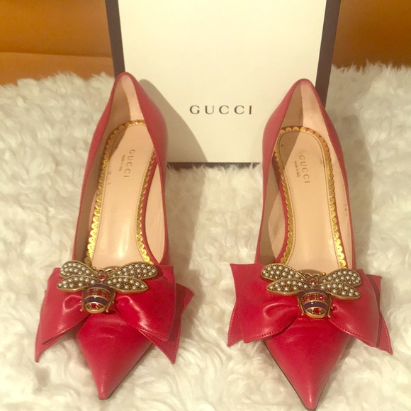 b88dcd4cd Gucci Shoes | Queen Margaret Red Leather Pumps | Poshmark